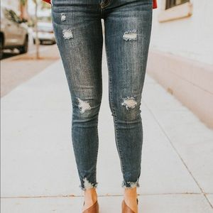 Pants - Distressed skinny jeans with frayed hems